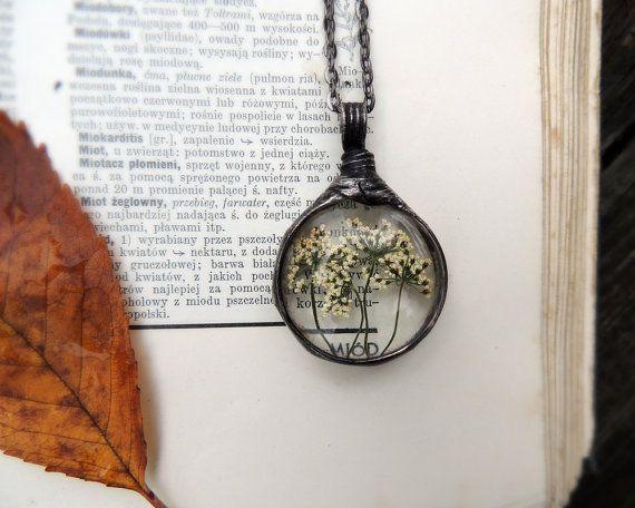 La pradera real, cordón de la Reina Ana, amor, flor, Hippie, siemprevivas, terrario collar, joyas naturales, boho, verano, Mariaela