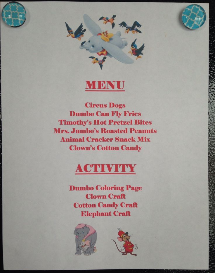 christmas picture ideas for brothers - Dumbo Dinner Menu Dumbo Movie Night Disney Movie Night