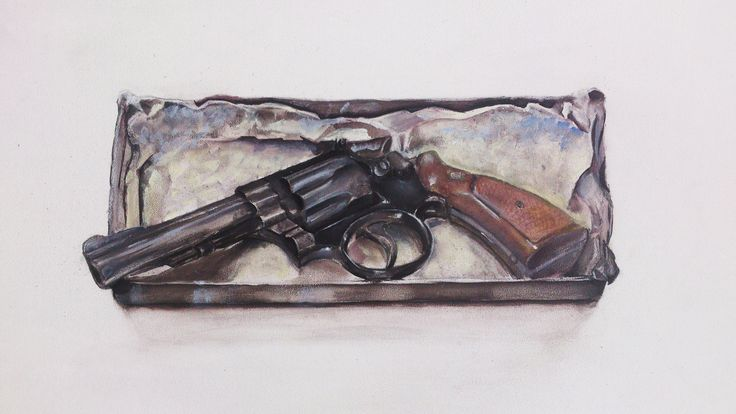 """""""Smith and Wesson"""" painting: Acryl on MDF 40x30 cm."""