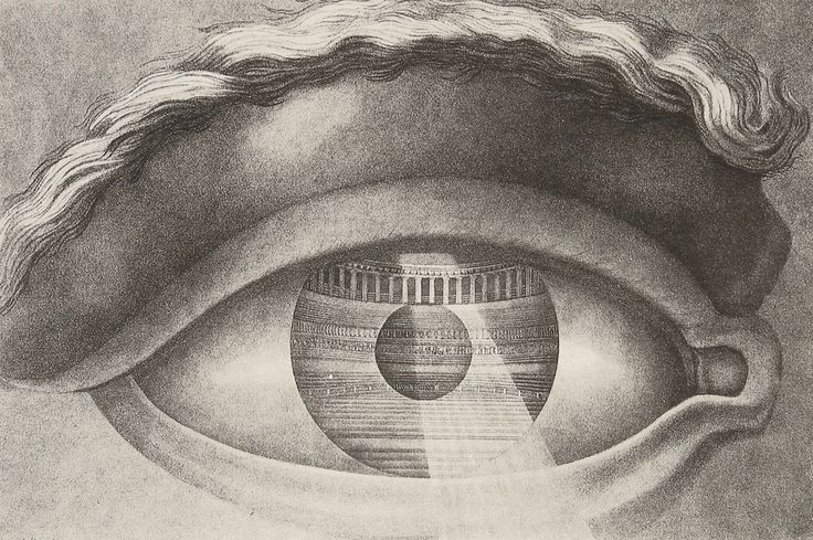claude-nicolas ledoux - théâtre de besançon, interior (1784) / the all-seeing eye (the eye of the member of the audience reflecting the theatre of besançon)