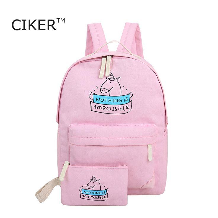 CIKER women canvas backpack fashion cute travel bags printing backpacks 2pcs/set…