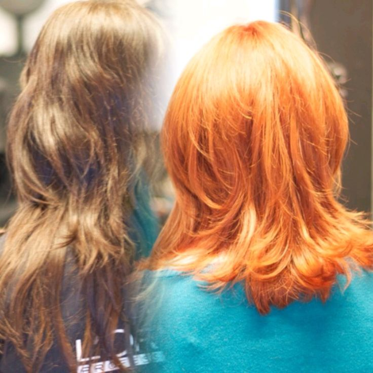 Before and after color change from dark brown to a beautiful red copper.