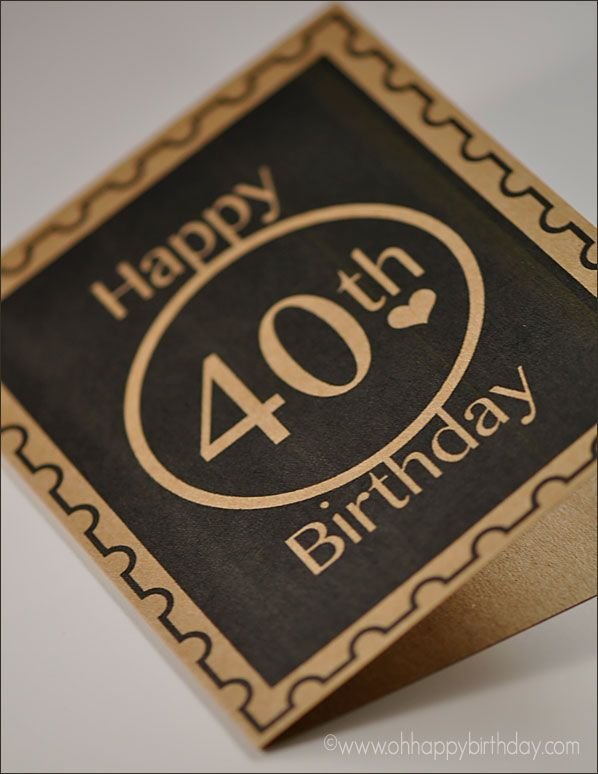 Sporting A Simple And Clean Look This Happy 40th Birthday Card Is Just The Right Design For Him Ohhappybirthday