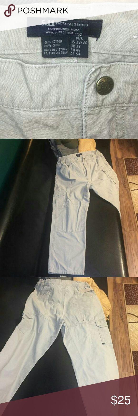 5.11 Tactical pants Details & Specs  Cotton Canvas 5.11 Tactical® Pants - Khaki work, contractors, Uniform apparel. Small stain near back pocket. 38/32 5.11 Tactical Pants Cargo