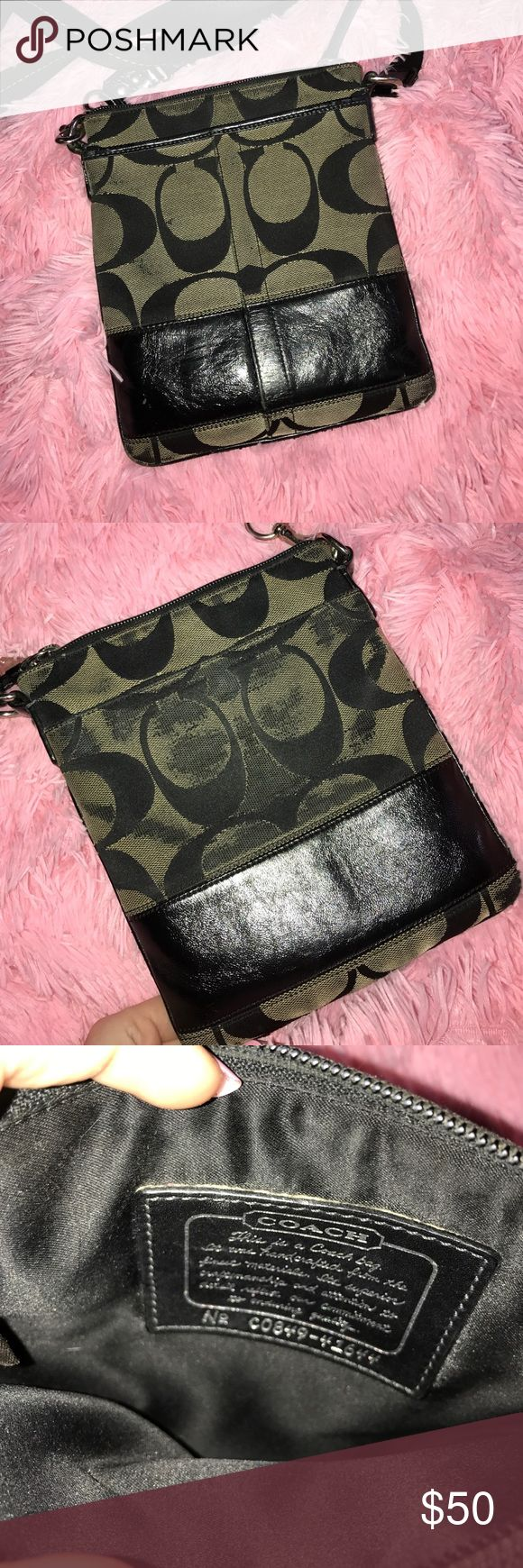 Coach Crossbody Coach grey & black crossbody bag, wear on the back from rubbing against jeans, front and back compartments, adjustable strap Coach Bags Crossbody Bags