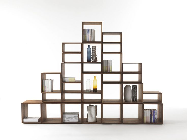 Freedom bookcase, C.R.&S. Riva1920, 2013 As its name suggests, Freedom is a modular bookcase, which can be assembled in endless ways. Two standard units, available in two different heights, can be assembled and stacked on top of each other to suit individual needs and space requirements. Freedom can also be assembled with entertainment unit. | @riva1920 #wood #natural #green #ecologic