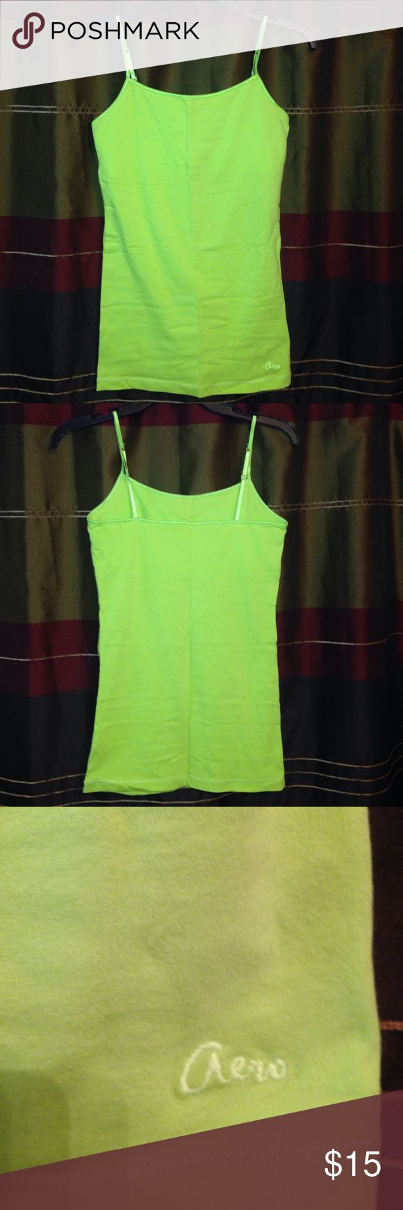 Green Cami Never worn. It's a little wrinkled because its been in a drawer for a while. Lime green cami Aeropostale Tops Camisoles