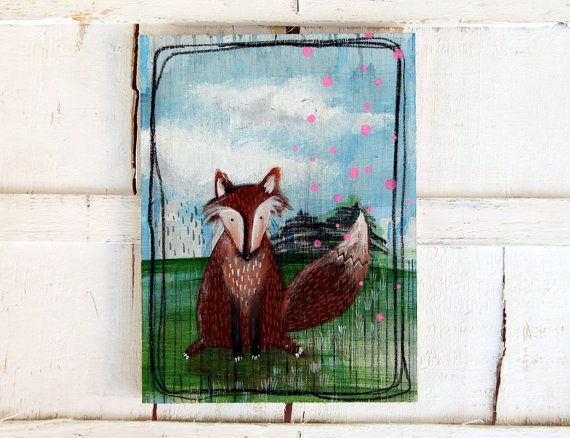 fox painting original illustration animal by ariannapiazzafineart, $85.00