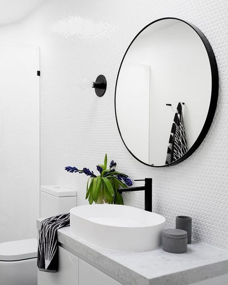 17 best images about mirror on pinterest round mirrors - Round mirror over bathroom vanity ...