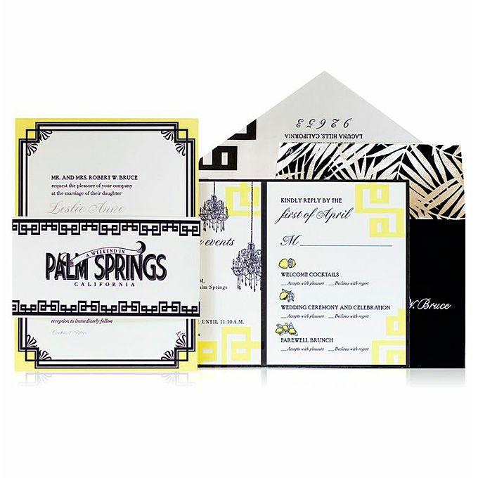 A Graphic Letterpress Invitation With Foil Printing for a Palm Springs Destination Wedding. #WeddingInvitations #SaveTheDate