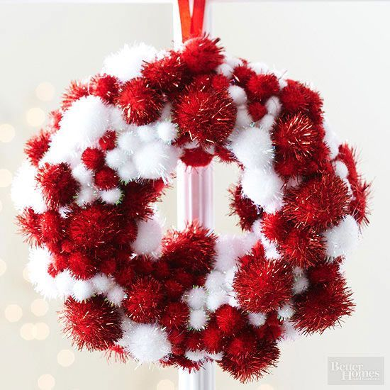 Kids can help assemble these miniature Christmas ornaments. Choose tinsel pom-poms in assorted sizes. Cover a small foam wreath with 1/8-inch-wide ribbon; secure ends with short pins. Make a hanging loop with 1/4-inch-wide ribbon. Hot-glue the pom-poms to the ribbon-covered wreath, and fill in gaps with tiny pom-poms.