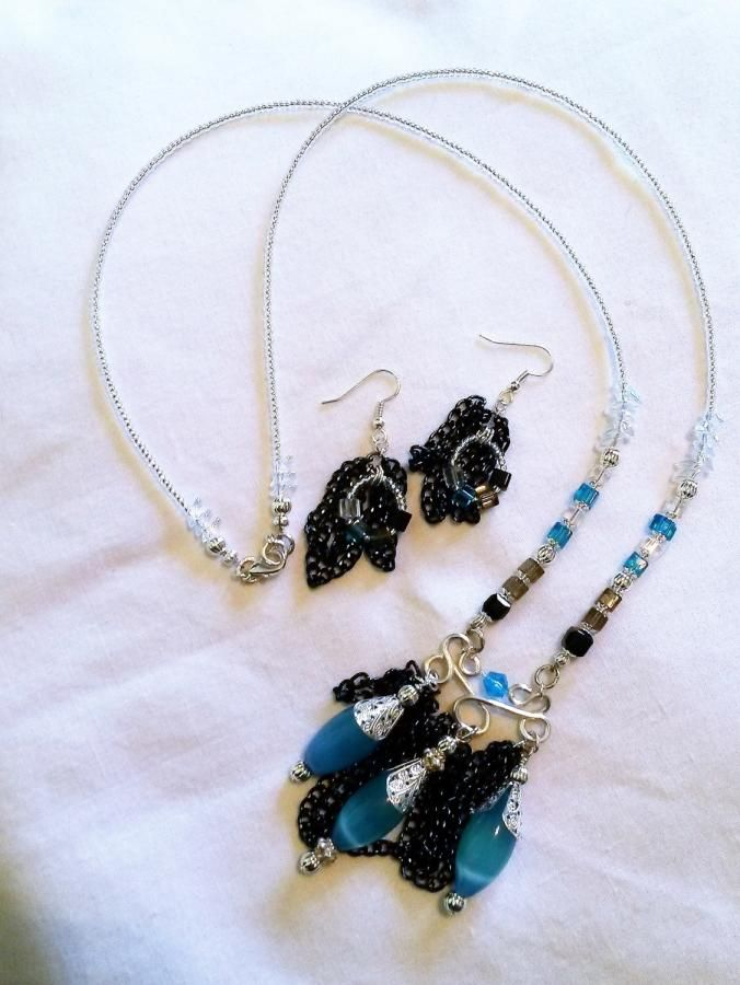 Blue Black and Silver Long Necklace & Earrings by BDBD Bead Designs by Debbie
