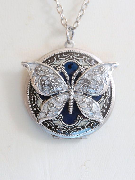 Butterfly locket http://www.etsy.com/listing/124921282/butterfly-silver-locketblue