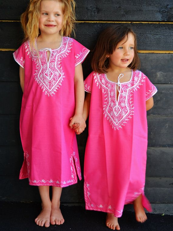 Kids Pink Marwa Resortwear Caftan Kaftan-for by MaisonMarrakech