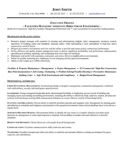 click here to download this facilities manager resume