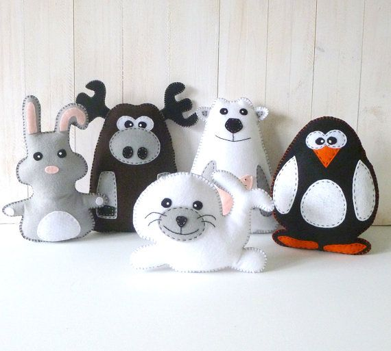 Arctic Stuffed Animal Hand Sewing PATTERNS // Plush Felt Polar Bear Rabbit Moose Penguin Seal // Easy