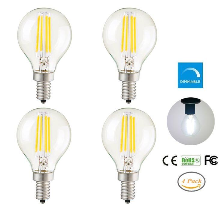 PACK of 4 Vintage LED Dimmable Light Bulbs,4W G45 E12 Base Antique Filament Edison LED Bulbs,Pure White(6000K)