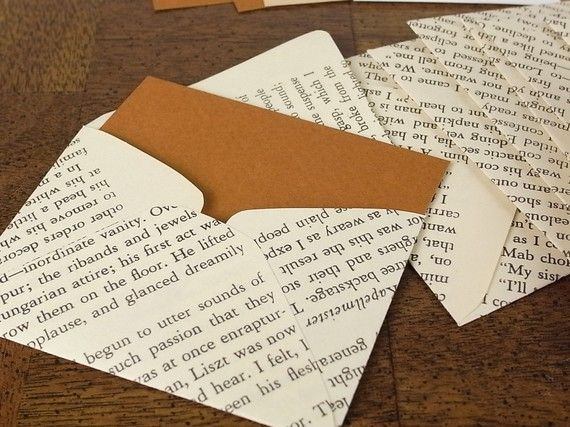 Pages from books become envelopes.