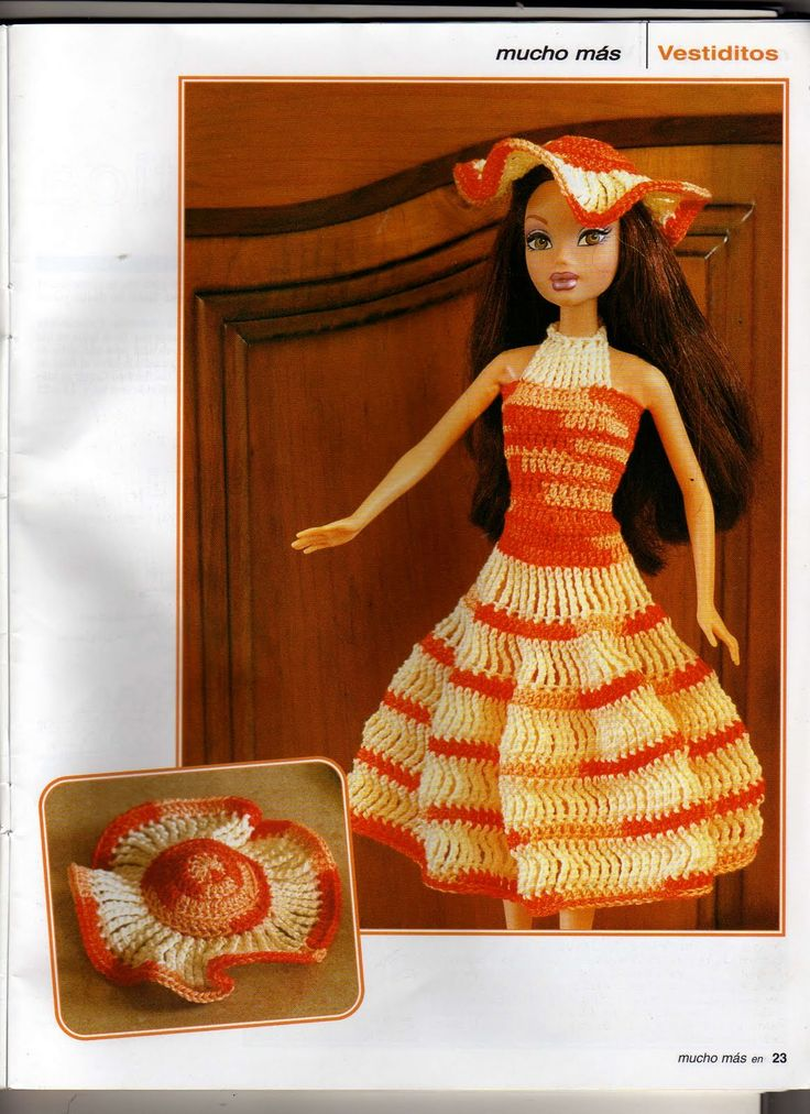"""""""Bailando con Barbie"""" ♥LCB♥ with diagrams--- Barbie Crochê Miniaturas e Coisas Mais - Vestidinho e Chapéu de Crochê Para Barbie Com Gráfico - Revista Much..."""