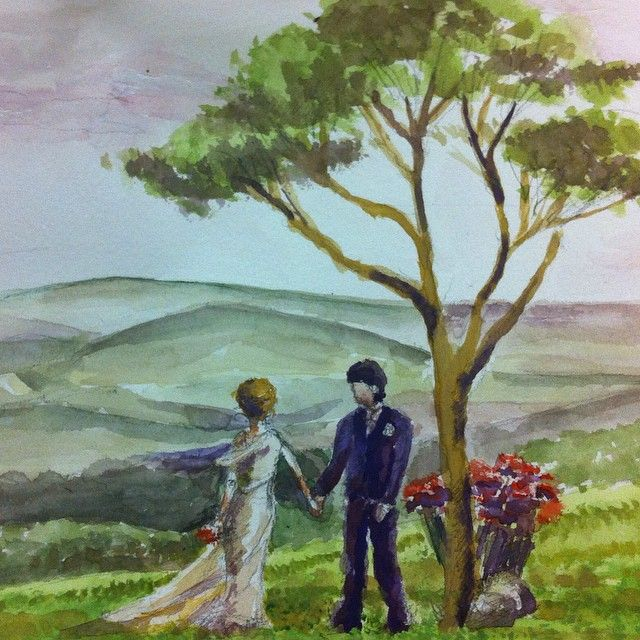 Romantic wedding water colour painting.