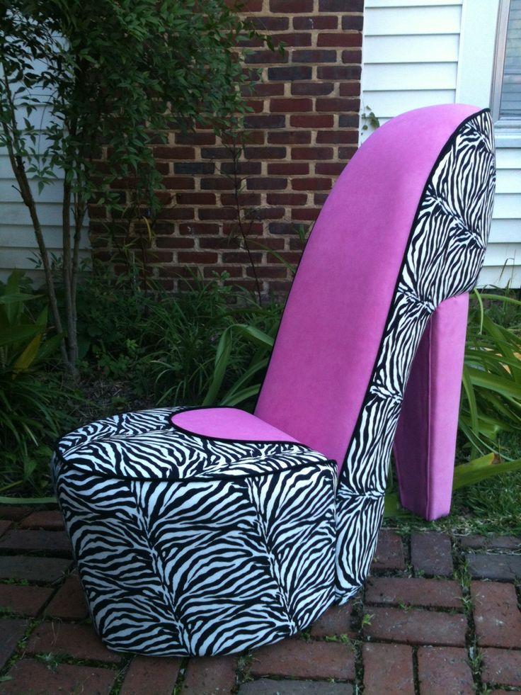 Handmade Zebra & Pink High Heel Shoe Chair by MeriMeg on Etsy, $179.00