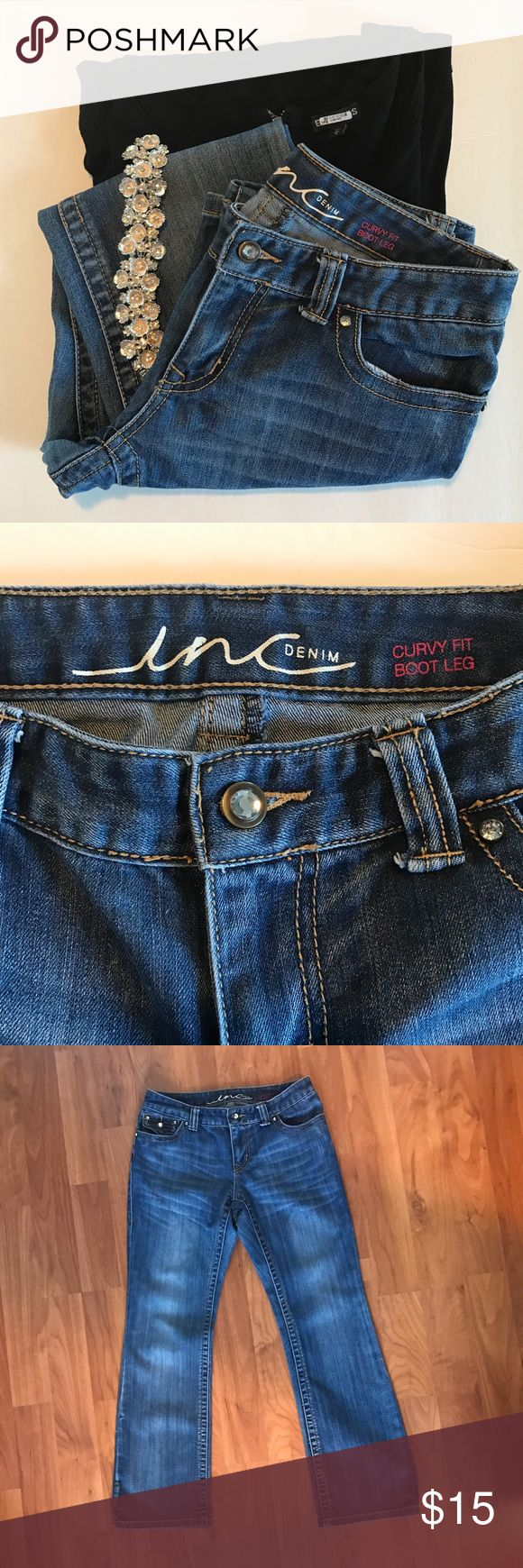 "Inc Curvy Bootcut Jeans Inc Curvy Bootcut Jeans with rhinestones, size 6, medium wash, smoke free home, Like New  Waist: 28"" Front rise: 8"" Back rise: 13 1/2"" Inseam: 29"" Leg opening: 18"" INC International Concepts Jeans Boot Cut"