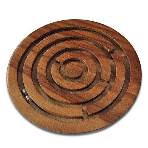 Dungri India Best Quality Wooden Labyrinth Board Game Ball in Maze Puzzle Handcrafted in India- 6 Inches