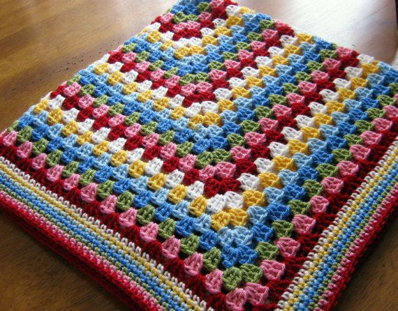 SALE Crochet Afghan Blanket Cath Kidston Colours by Thesunroomuk