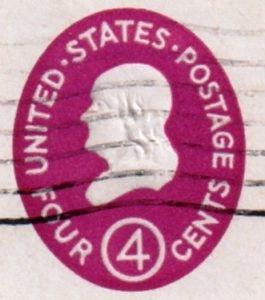 Us Embossed Envelope Stamp 4 Cents Benjamin Franklin Issued In 1958 Philately Stamp