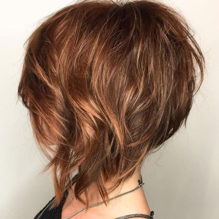 Wispy Layered Angled Bob With Highlights  Cut and color