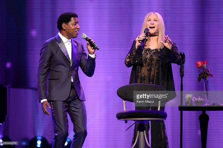 Barbra Streisand (R) and Kenneth 'Babyface' Edmonds perform onstage during the tour opener for 'Barbra - The Music... The Mem'ries... The Magic!' at Staples Center on August 2, 2016 in Los Angeles, California.