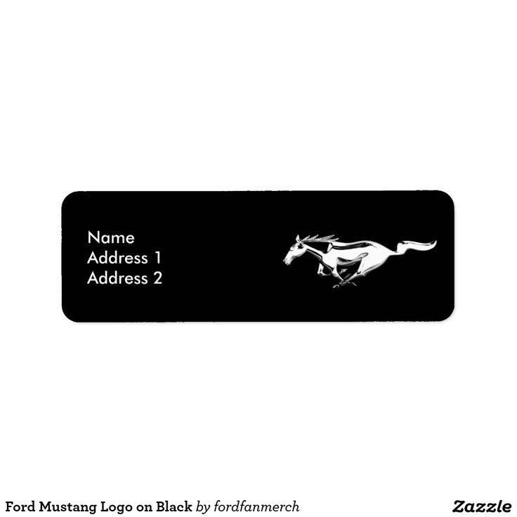 Ford Mustang Logo on Black Label  #adresslabel #label #ford #mustang #logo #black #horse #animals