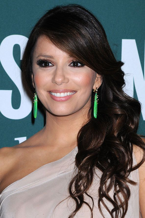 Eva Longoria's side-swept curls - celebrity hair and hairstyles