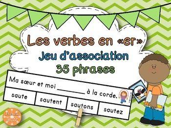 """Les verbes en """"-er"""" (premier groupe) - jeu d'association. Idéal pour pratiquer la conjugaison des verbes au présent de l'indicatif dans les centres de littératie."""