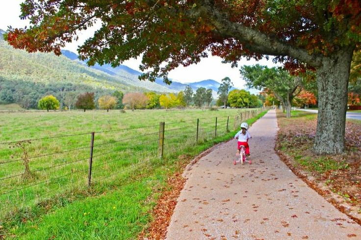 Harrietville Victoria : Easy cycling for all ages along the Harrietville bike trail : Alpine Valley Getaways