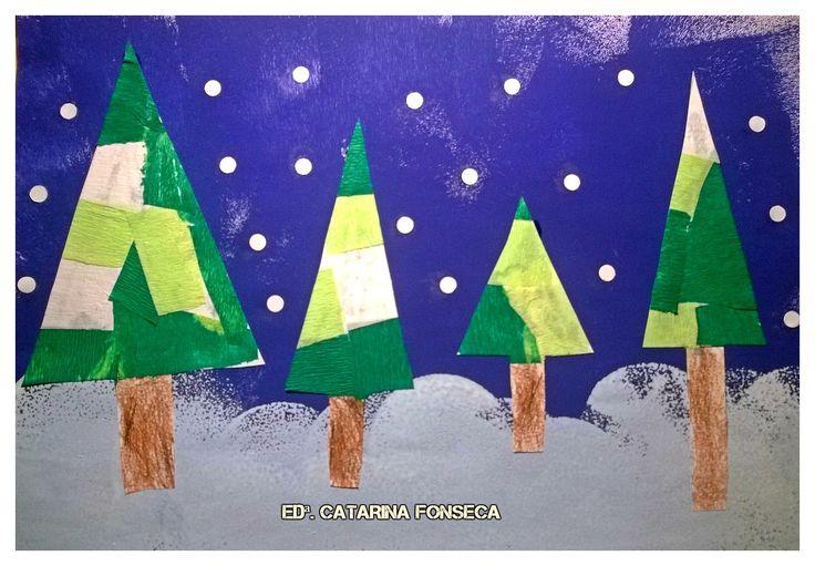 1. Pintar a folha com rolo, por completo, de azul escuro. 2. Fazer tufos de neve branquinha: pintura com esponja. 3. Pintura dos troncos, com lápis de cera. 4. Colagem de pedaços de papel crepe, na copa dos pinheiros. 5. Recorte, com tesoura para duas mãos, dos pinheiros. 6. Disposição e colagem dos pinheiros.