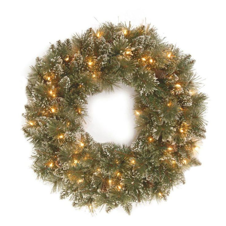30 in. Glittery Bristle Pine Pre-Lit Christmas Wreath with White Tipped Pine Cones - GB3-300-30W-1