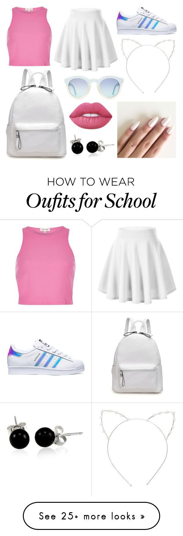 """School Day"" by susanna-trad on Polyvore featuring adidas, River Island, Cara, Lime Crime and Bling Jewelry"
