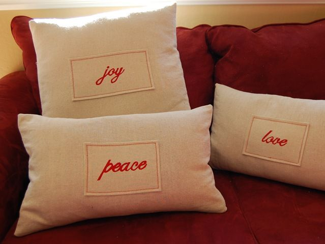 pillows inscribed
