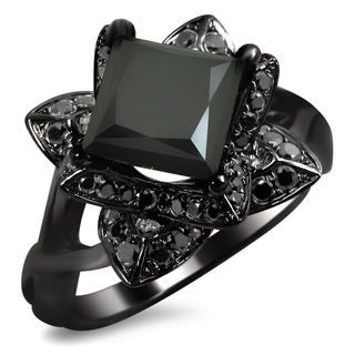 14k Black Gold 2ct TDW Black Princess-cut Diamond Lotus Ring~ This is the black diamond ring I've been looking for!! I must have it!
