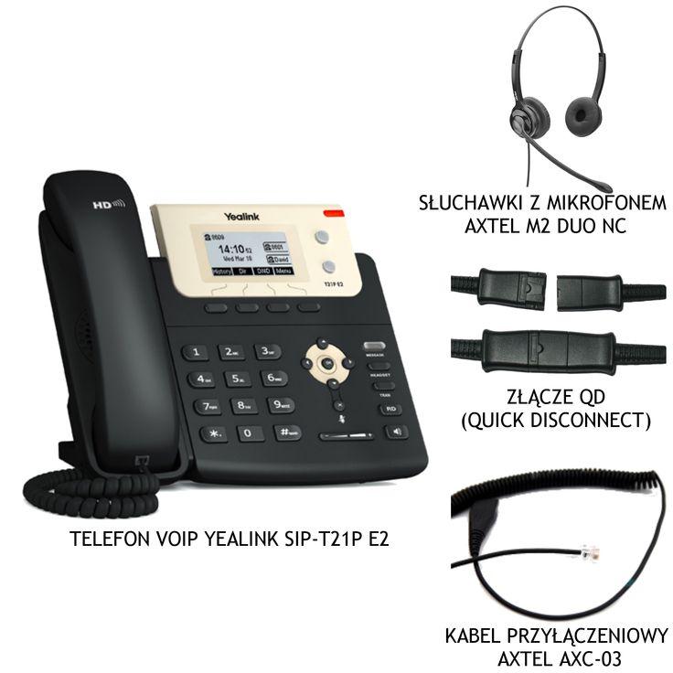 Zestaw Yealink T21P + AxTel M2 Comfort duo NC