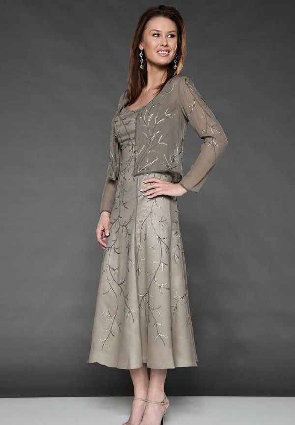 Satin Scoop A-Line Tea-Length Mother Of The Bride Dress with Matching Jacket - Mother of the bride - WHITEAZALEA.com
