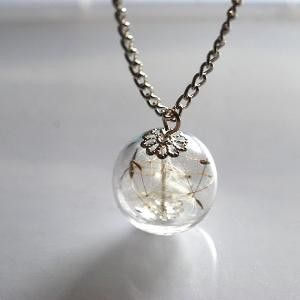 Dandelion Necklace s Jewelry Real Seeds by NaturalPrettyThings
