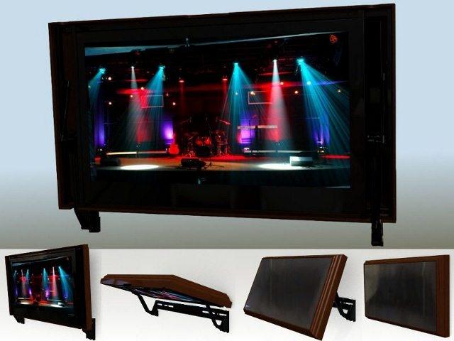 hide your flat screen tv with a hidden vision mount flip around hidden tv mount pinterest. Black Bedroom Furniture Sets. Home Design Ideas