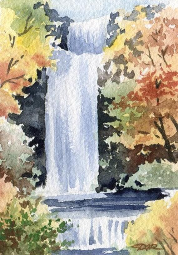 Waterfall Watercolor Fine Art Print By Artist Dj Rogers Etsy Watercolor Landscape Paintings Art Painting Watercolor Artists