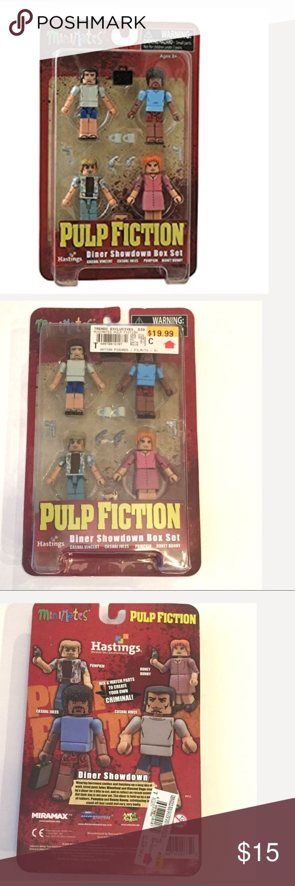 New Minimates Pulp Fiction figurines. New Minimates Pulp Fiction figurines.  Diamond Select Toys Pulp Fiction 20th Anniversary: Diner Showdown Minimates Box Set. The set contains casual versions Jules and Vince. Also in the set are Pumpkin and Honey Bunny. Hot Topic Other