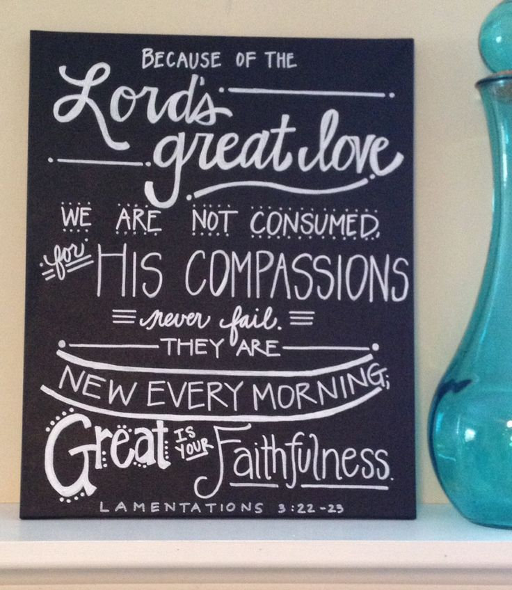 Lamentations 3: 22-23 Bible Verse Canvas, chalkboard style, Handlettered art  by AdornmentsbyWendi on Etsy, $30.00