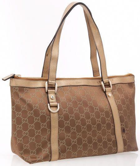 bae6f1eda39 Gucci Bronze Metallic Leather and Classic Monogram GG Fabric Tote   Guccihandbags