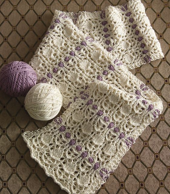 Two-Color Lace Scarf pattern by Manda Shah | hand knitted ...