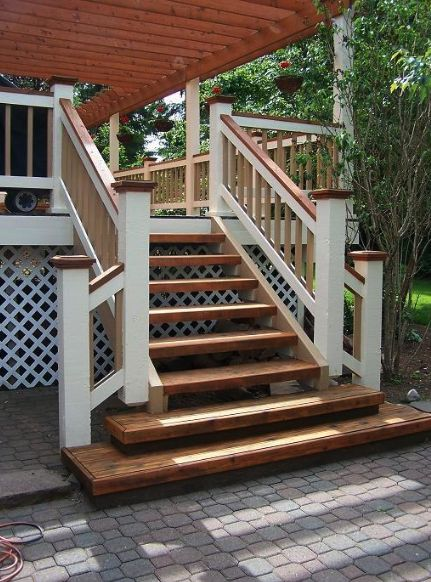 deck with handrails stained a different color - Google Search